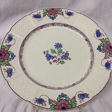 """WEDGWOOD SAXON DINNER PLATE 10 1/4"""" PURPLE & BLUE FLOWERS BASKETWEAVE"""