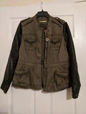 Gianni Bini Women's Military Jacket with faux leather sleeves Size 10