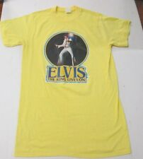 VTG Elvis Presley Iron On T Shirt Size M Ched Tagged The King Lives On
