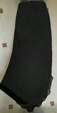 SKIRT 20 48 XL PLUS LONG BLACK WHITE DOTS PRINT DIPPED HEM OFFICE PARTY VENEZIA