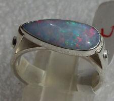 Top Multicolor Opal 3.5 Karat 950er Silberring Größe 18,1 mm Unikat