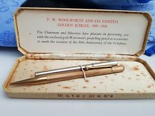 More details for watermans 9ct gold propelling pencil set. boxed. woolworths 50th jubilee. 21 gms
