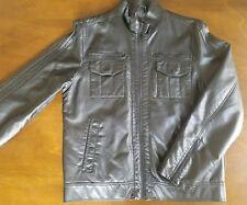 GUESS Men's Leather Faux Jacket Black Large Coat Zipper Pockets