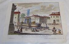 1691 Antique COLOR Print///FOUNTAIN IN PIAZZI OF CHURCH OF SANTA MARIA MAGGIORE