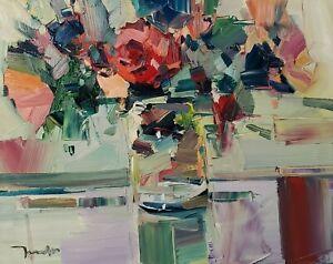 JOSE TRUJILLO Oil Painting IMPRESSIONISM ART MODERN STILL LIFE FLOWERS SIGNED