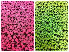3mm and 6mm Bright Neon Sequins on Black Nylon Mesh Fabric