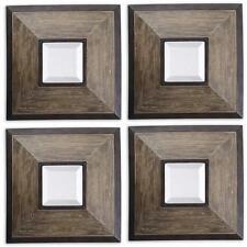 "Designer 16"" Distressed Wood Mirrored Wall Art PAIR Set of 2 Square Dark"