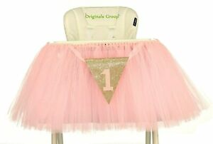 Originals Group 1st Birthday Baby Pink Tutu Skirt for High Chair Decoration for