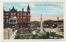 Anderson South Carolina Plaza Court House Vintage Painted Photo Postcard