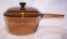 Pyrex Corning Vision Ware USA Amber Glass 1.5 L / Qt. Sauce Pan Pot w Lid CLEAN