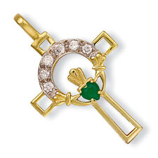 Claddagh Cross Pendant Yellow Gold Green Agate Hallmarked British made