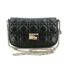Authentic Miss Dior Cannage Lambskin Leather Bag Lady Dior Shoulder Bag in Black