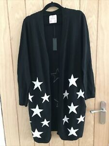 NEW Clements Ribeiro BNWT Black Wool Mix Long Cardigan Pockets Size 12 M