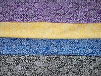 4 FQ Bundle – SUNDRENCHED DAISIES 100% Cotton Quilt Fabric Fat Quarters