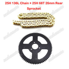 25H 136L Chain 68T 26mm Rear Sprocket For 47c 49cc 2 Stroke Mini ATV Pocket Bike