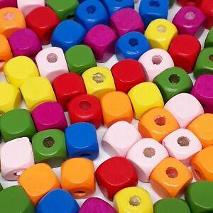 50pcs Mixed Colour Wooden Cube Beads 10mm - B70810