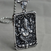 Heavy Solid 925 Sterling Silver Charm Pendant God Of Elephant Trunk For Necklace