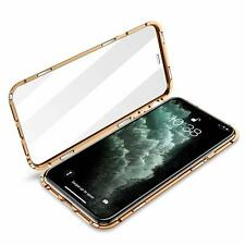 iPhone 11 Pro Max Case Magnetic Adsorption Front Back Tempered Glas Clear Golden