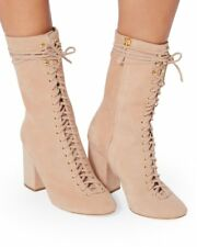 NEW $650 BROTHER VELLIES Rose Lali Lace Up  Suede Boots Size US 7 / 6  6.5 AUS