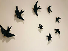 8x Hand painted Portuguese Ceramic Decorative Wall Hanging Swallows home pottery