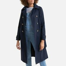 LA REDOUTE Navy Trench Coat Size 6 Long Draping Tailored Quality RRP £65