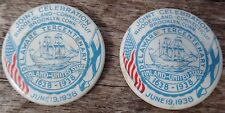 2 ~1938 DELAWARE TERCENTENARY PINBACK BUTTONS Finland US R.I. CT. Antique Badges