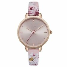 Ted Baker Ladies Rose Gold Plated Watch Pink Floral Strap TE50005009