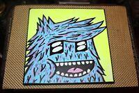 Original Outsider Art Painting Blue Face Creature Flipped Hair Artist Tim Robot