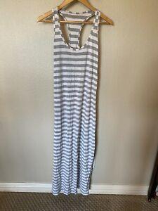 Gap Body Pajamas Night Gown Dress Women Size M Gray White Striped Maxi Racerback