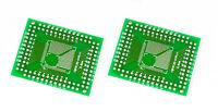 2Stück QFP TQFP LQFP FQFP 32/44/64/80/100 0,8mm & 0,5mm DIP 2,54mm Adapter PCB