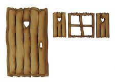 Wooden Fairy Door - Rustic Log Cabin Fairy Door Kit with Fairy Window & Shutters