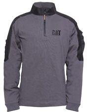 CAT Caterpillar Tactical Work Mens Grey 1/4 Zip Workwear Sweat Shirt