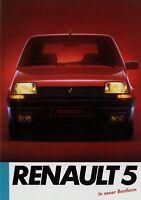 Renault 5 Prospekt 1985 brochure prospectus broschyr broszura broshura catalogo