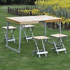 Outsunny–Set da Campeggio 5 Pezzi Tavolo con 4 Sedie Pieghevoli in Legno e lega