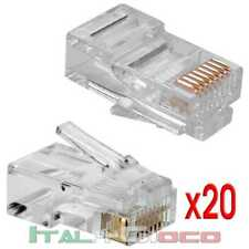 20X Plug Connettori Rj45 Lan Ethernet Cavo Di Rete 8P8C