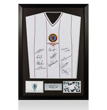 Framed Aston Villa Squad Signed Shirt - 1982 European Cup Final Autograph