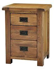 Logan solid oak furniture three drawer bedroom large bedside lamp table