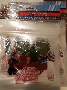 Marvel Avengers Assemble Sandwich Bags Resealable 40 total 20 per pkg. Lunch!!