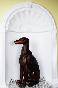 Copper effect Dog Large Size Sitting greyhound Statue Figurine Home Decor Dorma
