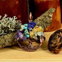 Garnet Rose Quartz Citrine Tree Of Life Necklace Antiqued Copper Wire Wrapped