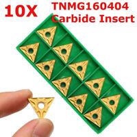 10 Pcs CNC Carbide Inserts Blades TNMG160404 for Lathe Turning Boring Tool US
