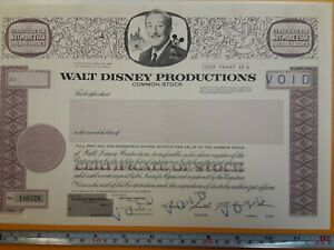 WALT DISNEY PRODUCTIONS STOCK CERTIFICATE 1967 VOIDED NOT ISSUED