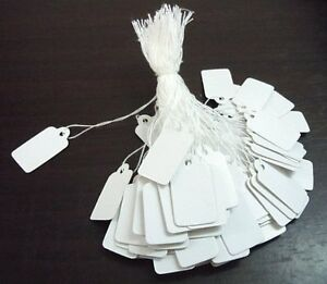 PLAIN WHITE STRUNG STRING GIFT JEWELLERY DISPLAY PRICE TAGS TIE ON LABELS