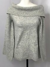 Ann Taylor Sweater Pullover Knit Gray Cowl Neck Bell Sleeve Size Small