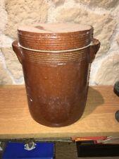Ancien Grand pot à graisse pot saloir pot a confits terre cuite vernissée N• 6