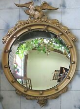 Antique Federal Eagle Bullseye Gold Gesso Over Wood Convex Mirror