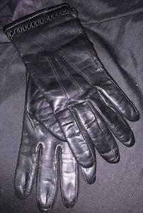 Black Leather Gloves Fleece Lined Womens Sz 8