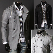 Autumn Fashion Men's Trench Coat Long Jacket Slim Fit Overcoat Outerwear Tops