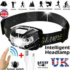 Waterproof Headlight Super Bright Head Torch LED USB Rechargeable Headlamp Fish