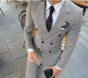 Men Black & White Suit Double Breasted Grooms Wedding Dinner Suits (Coat+Pants)